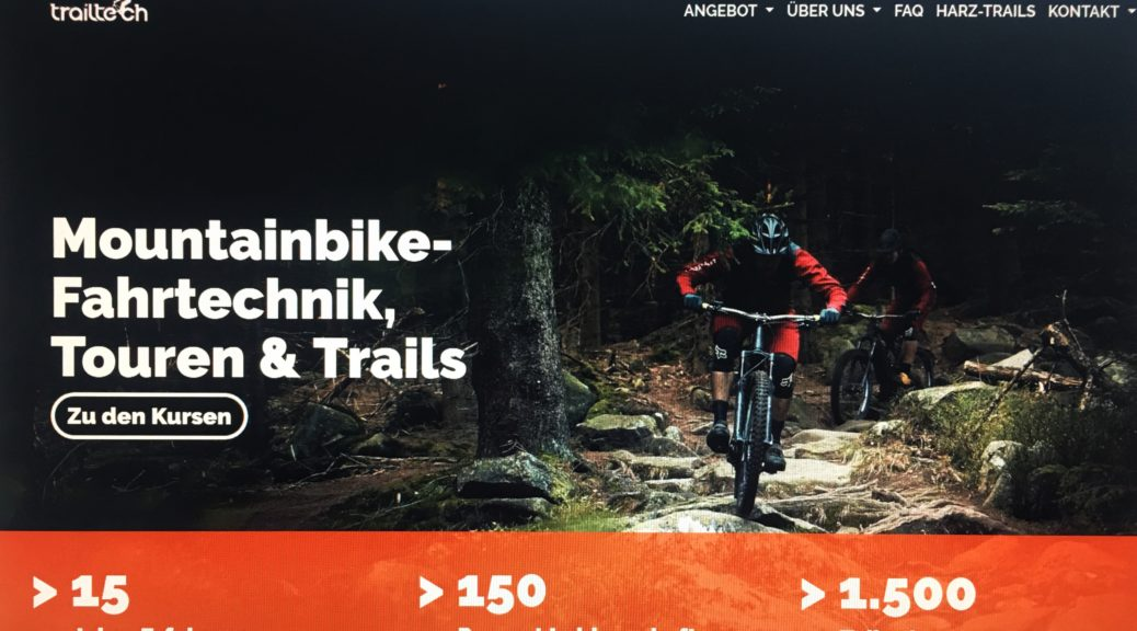 ein screenshot der neuen website mit mountainbiker