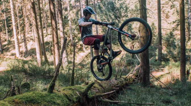 biker balanciert mit hinterrad auf auf baumstamm