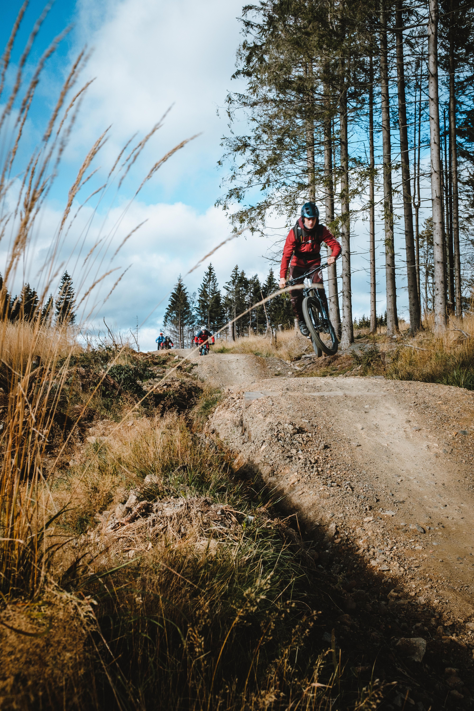 mountainbiker springt einen table